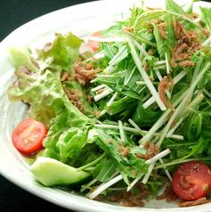 料理メニュー写真水菜とじゃこの梅肉サラダ