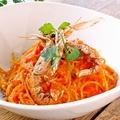 料理メニュー写真手長海老のトマトクリームスパゲッティー