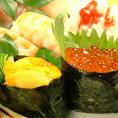 松屋自慢の寿司もご用意しています。ぷちぷちのいくらに濃厚なうに☆直送だからこその価格でお出ししています!! にぎり盛り合わせ6ヶ650円(税抜)