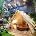 ◆限定!!グランピングテント席◆大人6名様がゆったり座れる大テントは、たくさんのクッションに囲まれた秘密の話に花が咲く隠れ家的な空間☆女子会、合コン、誕生日会etc…いつもと違う場所でわくわくするBBQはいかがでしょうか◎