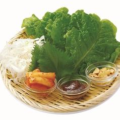 牛角サンチュセット (サンチュ5枚・大葉・ねぎ・カクテキ・ガーリックチップ付き)