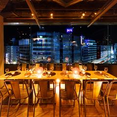 夜景を見ながらのディナー、飲み会に最適なお席。
