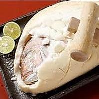 記念日には天然鯛の塩釜焼きをご用意