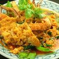 料理メニュー写真ワタリガニと卵のカレー炒め