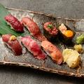 料理メニュー写真馬肉にぎり盛り(七種盛り 各一カン)