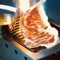 【北海道出身店長オススメ!3秒ロース】北海道産A4和牛の大判ロースを贅沢に使用。レアに炙り、『ぶいぶいオリジナル味噌バターだれ 』で・・卵と自家製だれで食べる「すき焼き風(1400円)」のご用意もあります。