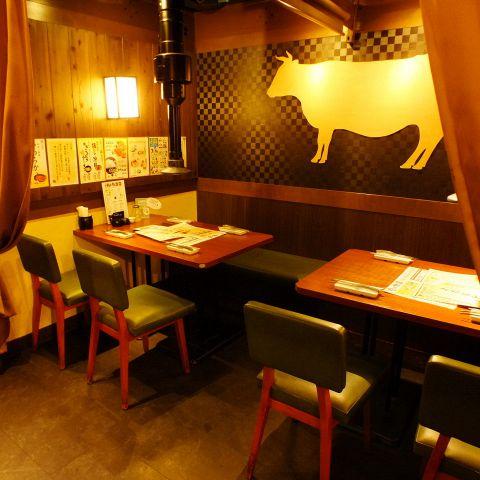 8名~10名様テーブル。小口団体様用/半個室。(焼肉 梅田 食べ飲み放題 食べ放題 飲み放題 チーズフォンデュ 誕生日 女子会 肉 チーズ)