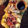 料理メニュー写真エゾ鹿と三石ポークの合盛りステーキ