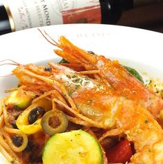 料理メニュー写真有頭エビのトマト風味スパゲテイ