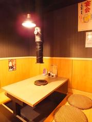 こちらも店内奥にある堀ごたつ席。半個室なので少人数でも落ち着いて過ごせます。
