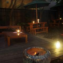 夜の庭席は雰囲気抜群です。(21:00まで)