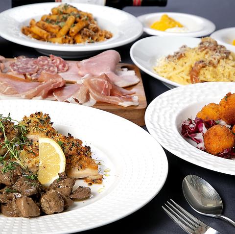 【CourseA】九州産華味鶏メイン南イタリア伝統料理を楽しむお手頃コ-ス♪飲み放題付5000円(税込)