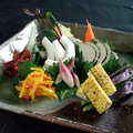料理メニュー写真日替わり 近江野菜のお刺身 3品目盛り合わせ