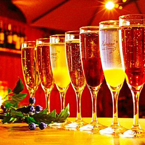 生ビールのように注ぐ《樽詰》のスパークリングワインだからいつでもフレッシュ♪スパークリングワインカクテルも豊富にご用意してお待ちしています。