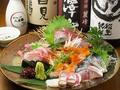 料理メニュー写真おまかせ鮮魚四種刺身盛り合わせ