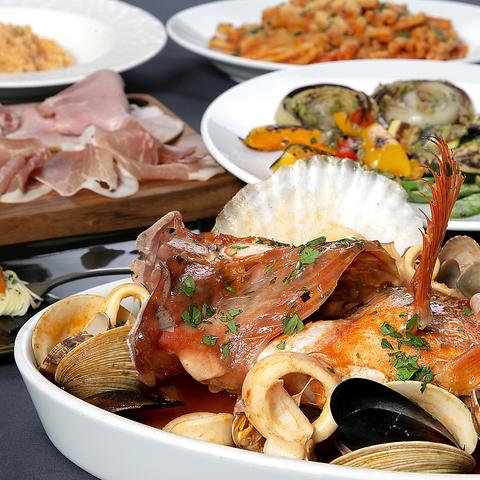 【CourseB】魚介のイタリアン鍋と旨味たっぷりのリゾットを味わうコース♪飲み放題付6000円
