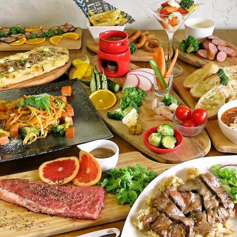 黒毛和牛とパスタやピザも堪能!!まんぷくモグプレミアムコース¥5,000(税込)