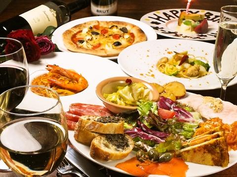ルーナプレヌ自慢のオードブルの盛り合わせは肉・野菜を贅沢に使った一品。