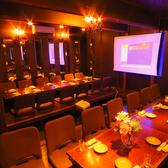 31~50名収容可能な貸切の堀こたつ式の個室です。予約で個室確約です。  無料で大型スクリーン・プロジェクター貸出(要予約)PM12時からの昼宴会もお受けいたします。