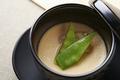料理メニュー写真要予約 フォアグラの茶碗蒸し アワビ餡かけ