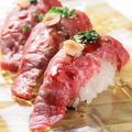 料理メニュー写真仙台牛の炙り寿司6貫