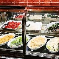 全てのコースに新鮮野菜のサラダバー&ドリンクバー付!