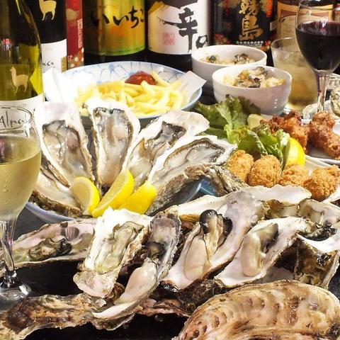全国から直送!!新鮮な生牡蠣を厳選された地酒やワインと共に。