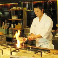 目の前で炙ります。炭火焼き各種250円~ご用意