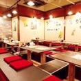 掘りごたつ席の最大人数は40名様となっております。大人数での宴会の際は皆様で是非、九太郎つくば店で九州料理をお楽しみください!