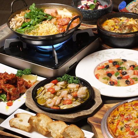 韓国、洋風、和風の創作料理が楽しめるお店です。アツアツの石鍋、石皿料理が人気☆