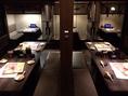 【テーブル25~35名様用(注釈付宴会場5)】4名様テーブルを3席、8名様用テーブルを2席ご使用頂きます。壁で仕切られてはいますが、同じエリアの近い席でご利用頂きますので半貸切のような状態になります。靴を脱ぐのはちょっと…という団体様にはオススメの宴会場です。(渋谷/居酒屋/貸切/3時間飲み放題/朝まで飲み放題)