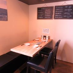 4人席テーブルは家族連れ・会社宴会様々なシーンでご利用可能。
