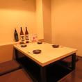 掘りごたつ式個室完備。