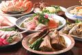 料理メニュー写真  刺身&貝盛合せ  魚煮付け  マグロかま煮  海鮮唐揚げ 寿司など