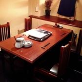 奥のテーブル席。最大6名までは入ります。少し狭く感じるかもしれません。暖簾で仕切れますので半個室みたいになります。