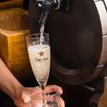 コースご利用の方はお一人様+300円(税抜)で樽生スパークリングワインも飲み放題メニューに追加できます!!