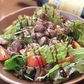 料理メニュー写真ラム肉と豚ハツのサラダ