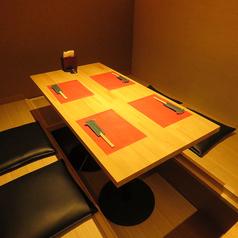 【少人数でも安心】2名様~4名様完全個室 掘りごたつ席。接待はもちろん、デートや気の合う仲間同士の少人数飲み会、大切な人とのお食事など様々なシーンでご利用いただけます。。#国分町#居酒屋#日本酒#肉#宮城の名物#個室