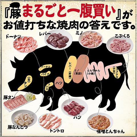 自慢のホルモン屋お肉は1人前294円より楽しめます