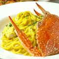 料理メニュー写真渡り蟹のサフランクリームスパゲティ