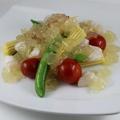 料理メニュー写真貝柱と季節の野菜 ジュレ仕立て