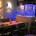 ベンチソファテーブル席は4名様用×2で8名様まで◎目の前に熱帯魚とクラゲの水槽があります。ご予約にて、完全カップルシートとしてもご利用いただけます。