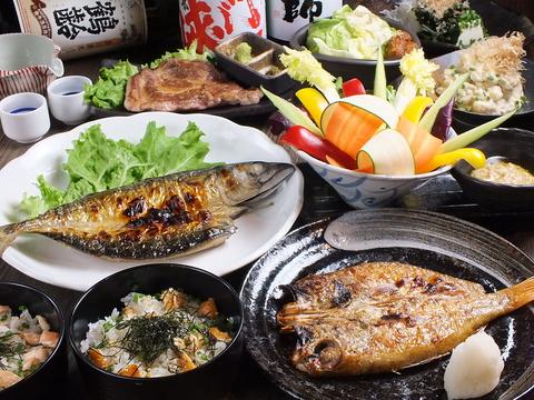 炭火焼料理と鮮魚に舌鼓