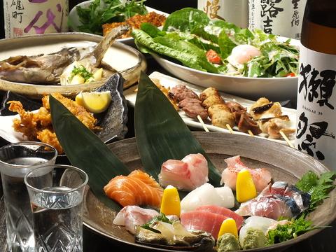 近隣の料理人たちからも一目置かれる、こだわりの海鮮と創作料理を楽しむ名店。