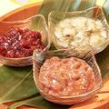 料理メニュー写真珍味三種盛(梅クラゲ・たこわさ・あさりのチャンジャ)
