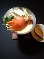 料理メニュー写真サーモンとホタテの豆乳小鍋(お一人様用)