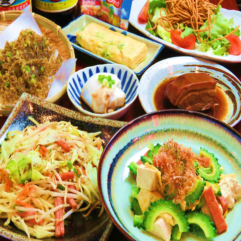 【沖縄産直イラヨイコース】海ぶどうやソーキの煮付全7品120分飲み放題付⇒3500円