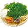 料理メニュー写真牛角サンチュセット (サンチュ5枚・大葉・ねぎ・カクテキ・ガーリックチップ)