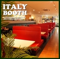 【ITALIA~イタリア~】 4名席と6名のボックス席の組合せ  イタリアカラーを基調とし料理に 一番近いブースとしても人気です♪