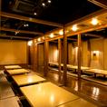 和の空気感溢れる個室は不思議と落ち着きます♪ゆったりとできる掘りごたつ式♪個室も一緒にお楽しみください♪《神田 個室と地鶏和食 なか匠 神田店》